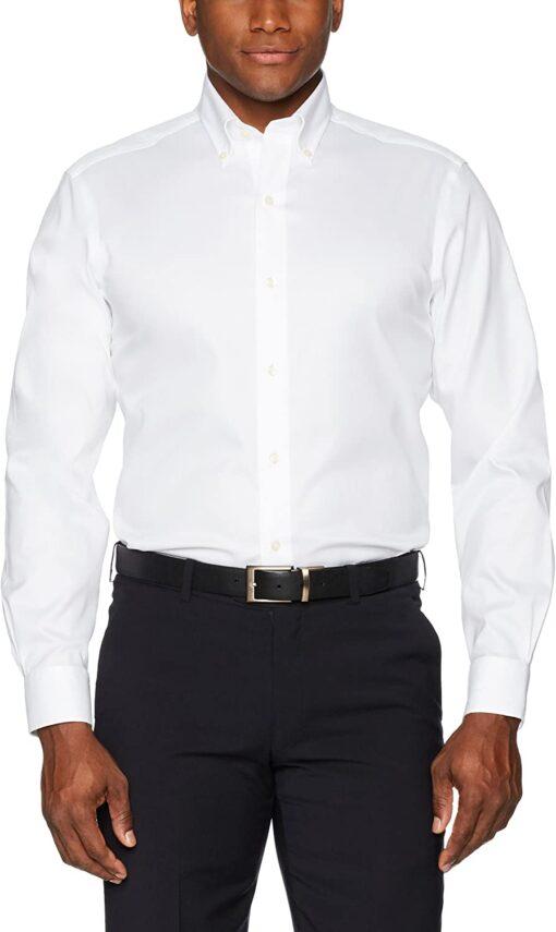 Buttoned Down Men's Standard Classic Fit Button Collar Solid Non-Iron Dress Shirt