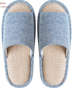 Youdiao linen Slippers For Men Floor Indoor Summer Shoes Cotton Mute Home slipper Women Non-slip Japanese Stylish Slides Solid
