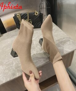 Aphixta Black 6cm Metal Square Heels Cotton Socks Boots Women Stretch Fabric Pointed Toe Shoes Ankle Boots For Woman Boats