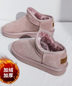 Winter 2020 New Women's Snow Boots Fashion Warm Suede Women's Flat Bottom Short Home Casual Shoes Size 35-40