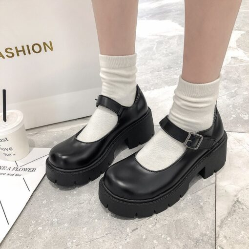 U-DOUBLE Women Shoes Japanese Style Lolita Shoes Women Vintage Soft High Heel Platform shoes College Student Mary Jane shoes