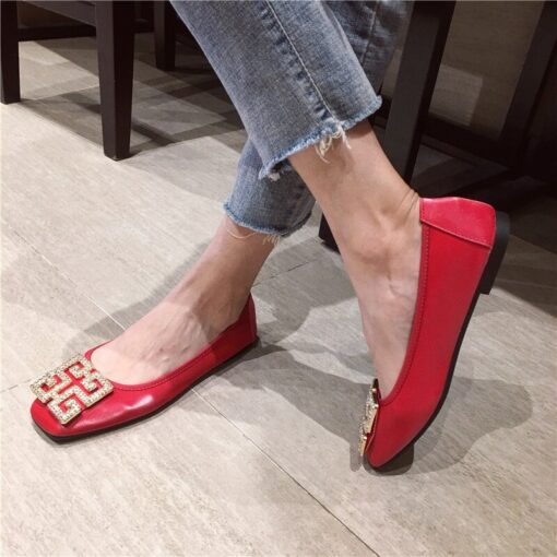 Big Size Women Flats Candy Color Shoes Woman Loafers Square Toe Slip on Fashion Flat Casual Shoes Woman Zapatos Mujer Size 43