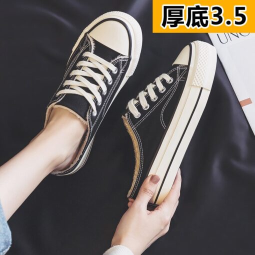 Half slipper canvas shoes women's shoes new autumn / winter 2020 no heel Plush loafer shoes with thick soles Family casual shoes