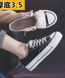 Canvas shoes women's shoes 2020 new winter plush ulzzang versatile cotton shoes thick soled casual shoes 35-40 Fashion Warm shoe