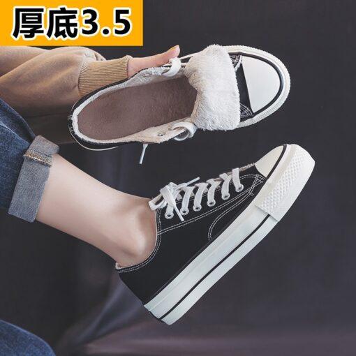 Canvas shoes women's shoes 2020 new winter plush ulzzang versatile cotton shoes thick soled casual shoes 35-40 Fashion Warm shoe